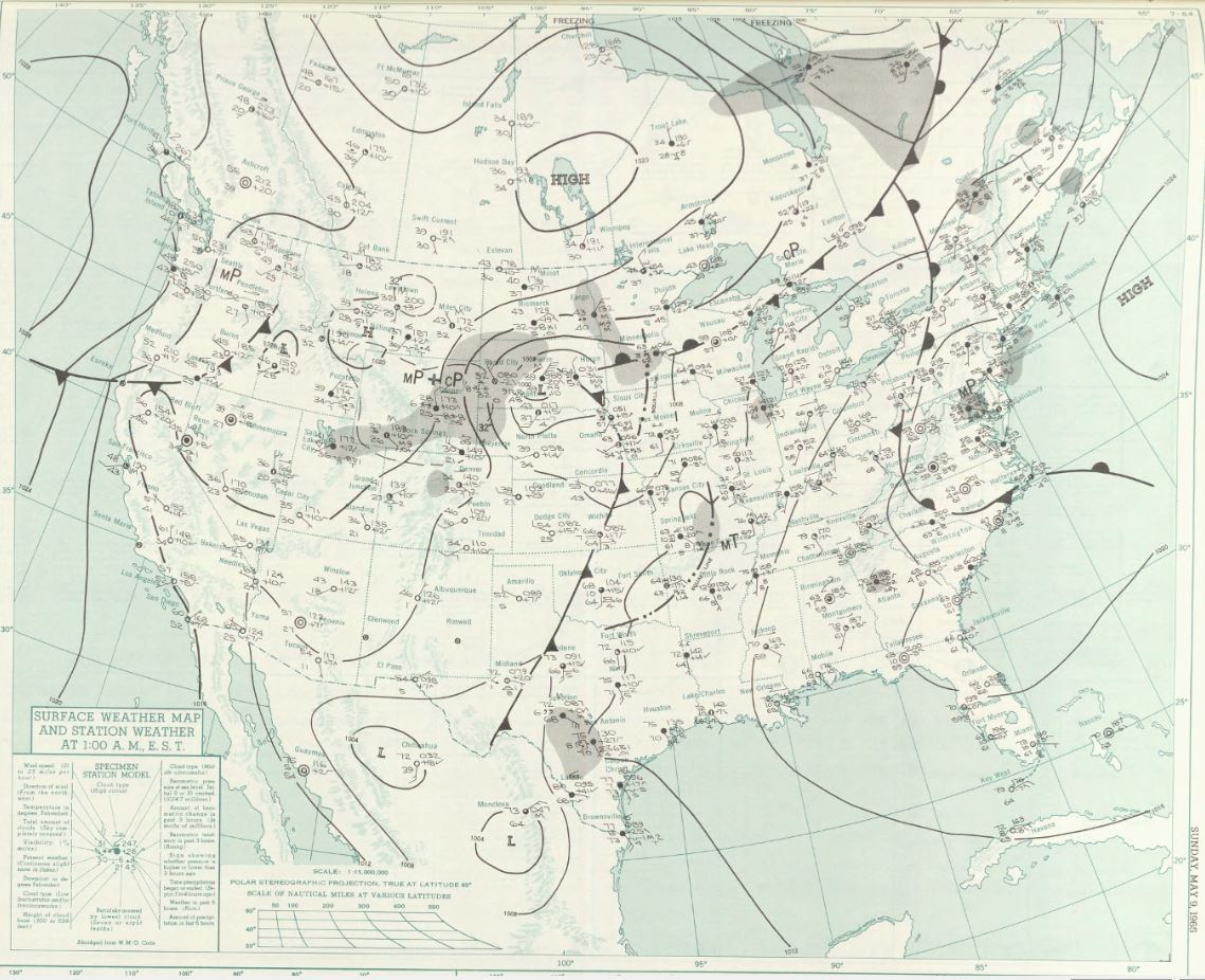 Surface map at midnight CDT on 8 May 1965