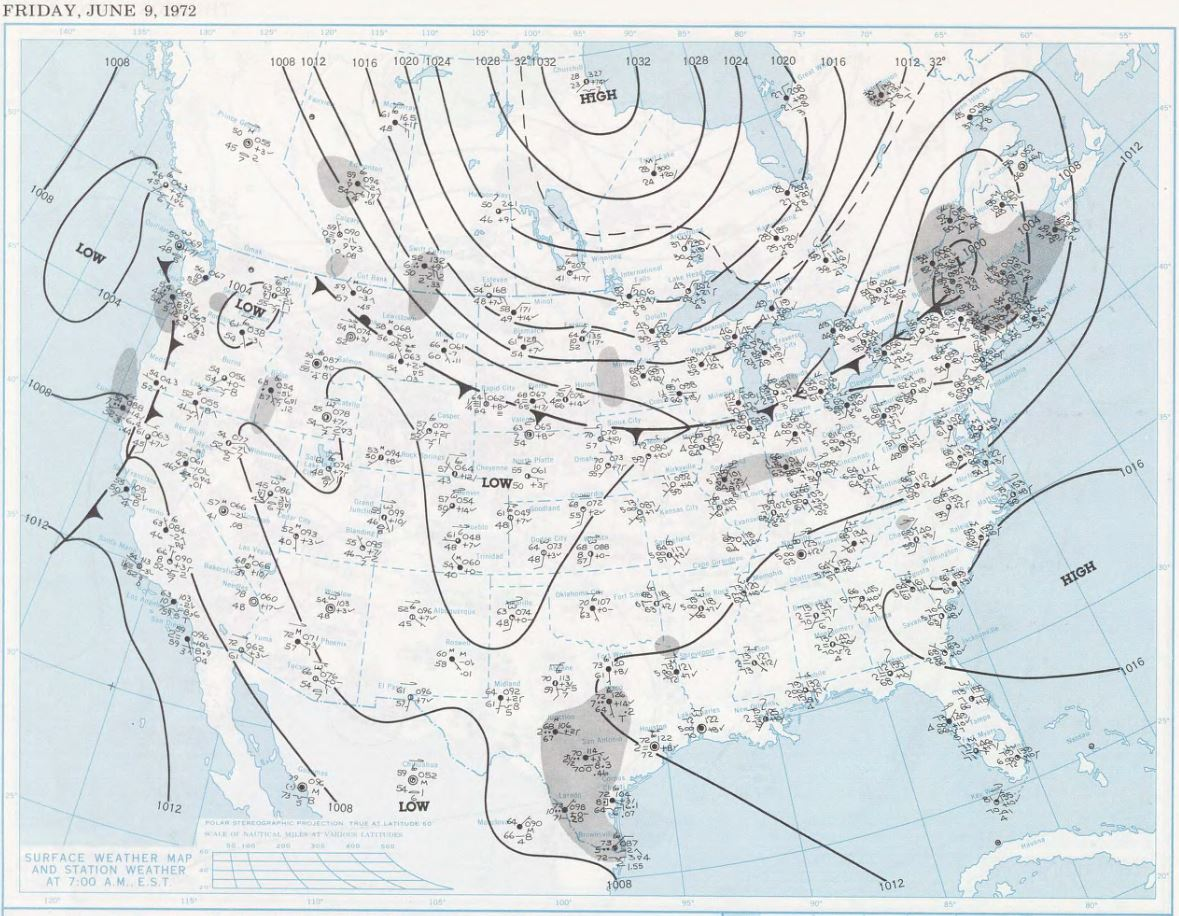 Surface map on the morning of June 9, 1972