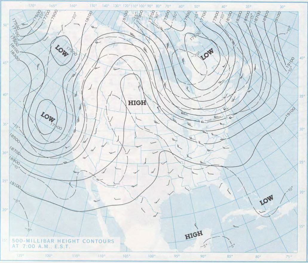 500 millibar map for the morning of June 9, 1972 (approximately 18,000 feet above sea level)