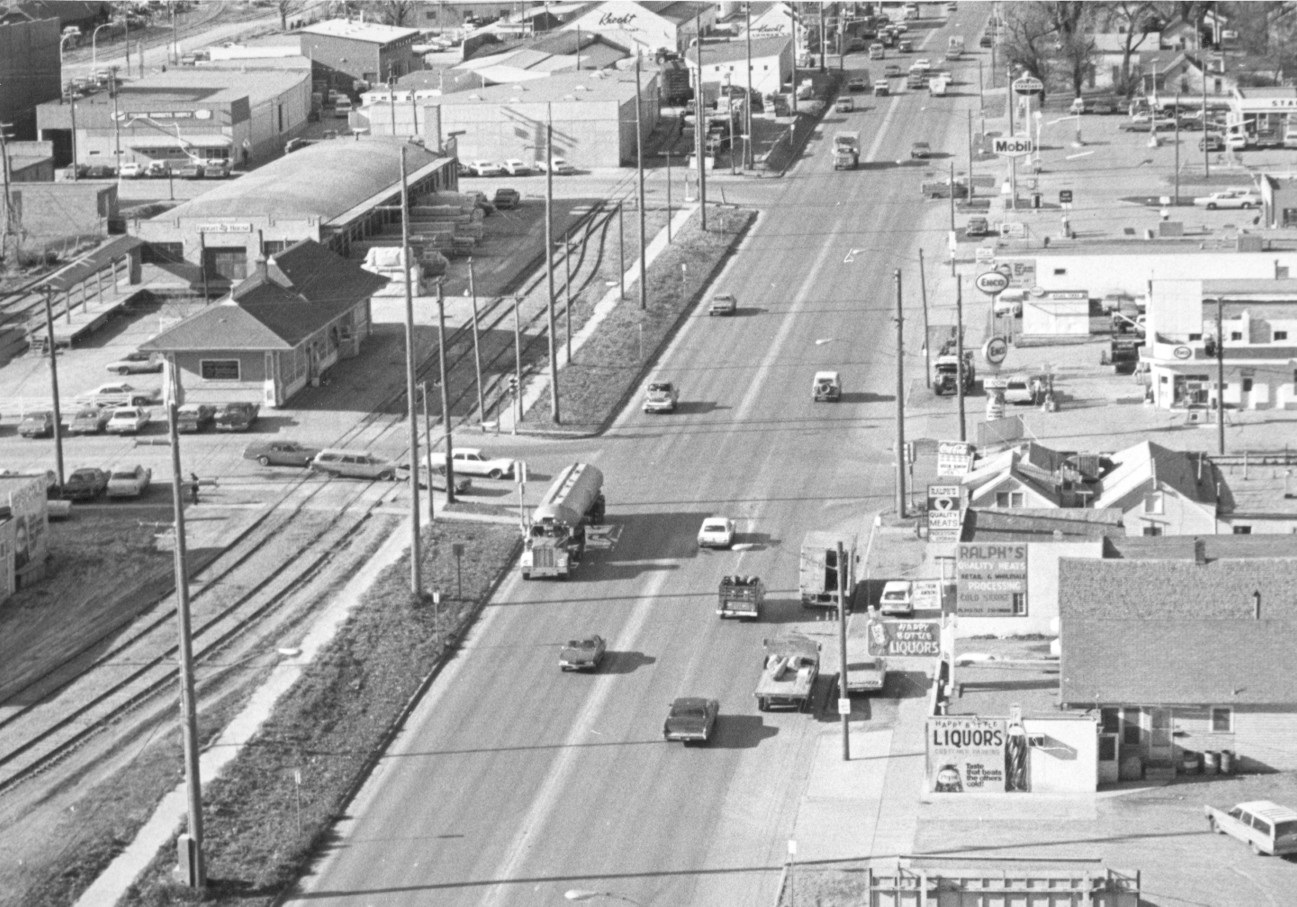 Looking west on Omaha Street, before 1972 (photo courtesy of the Rapid City Journal)