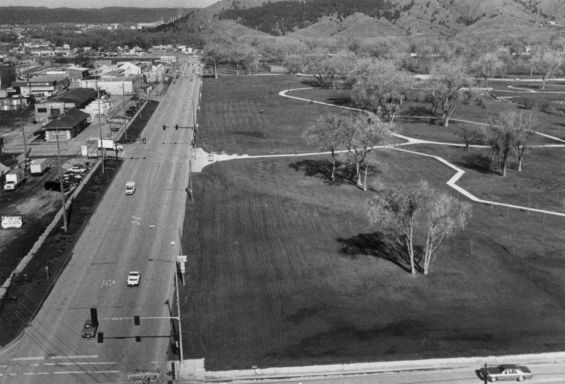 Looking west on Omaha Street, after the development of the greenway (photo courtesy of the Rapid City Journal)