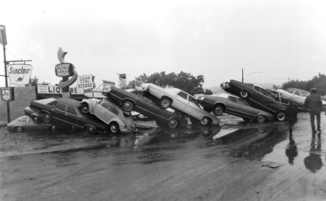 Flood damage on East Blvd. at Omaha St. in Rapid City, June 10, 1972 (photo courtesy of the Rapid City Journal)