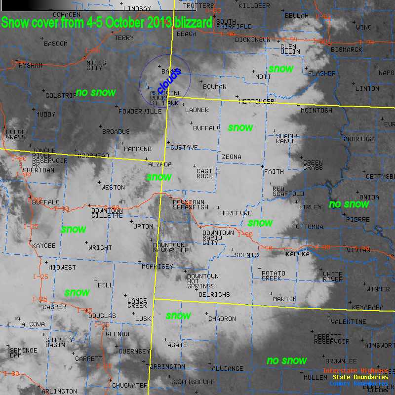 Visible satellite image on Oct 6 showing the deep snow cover over Wyoming, western South Dakota, northwestern Nebraska, southwestern North Dakota, and southeastern Montana.