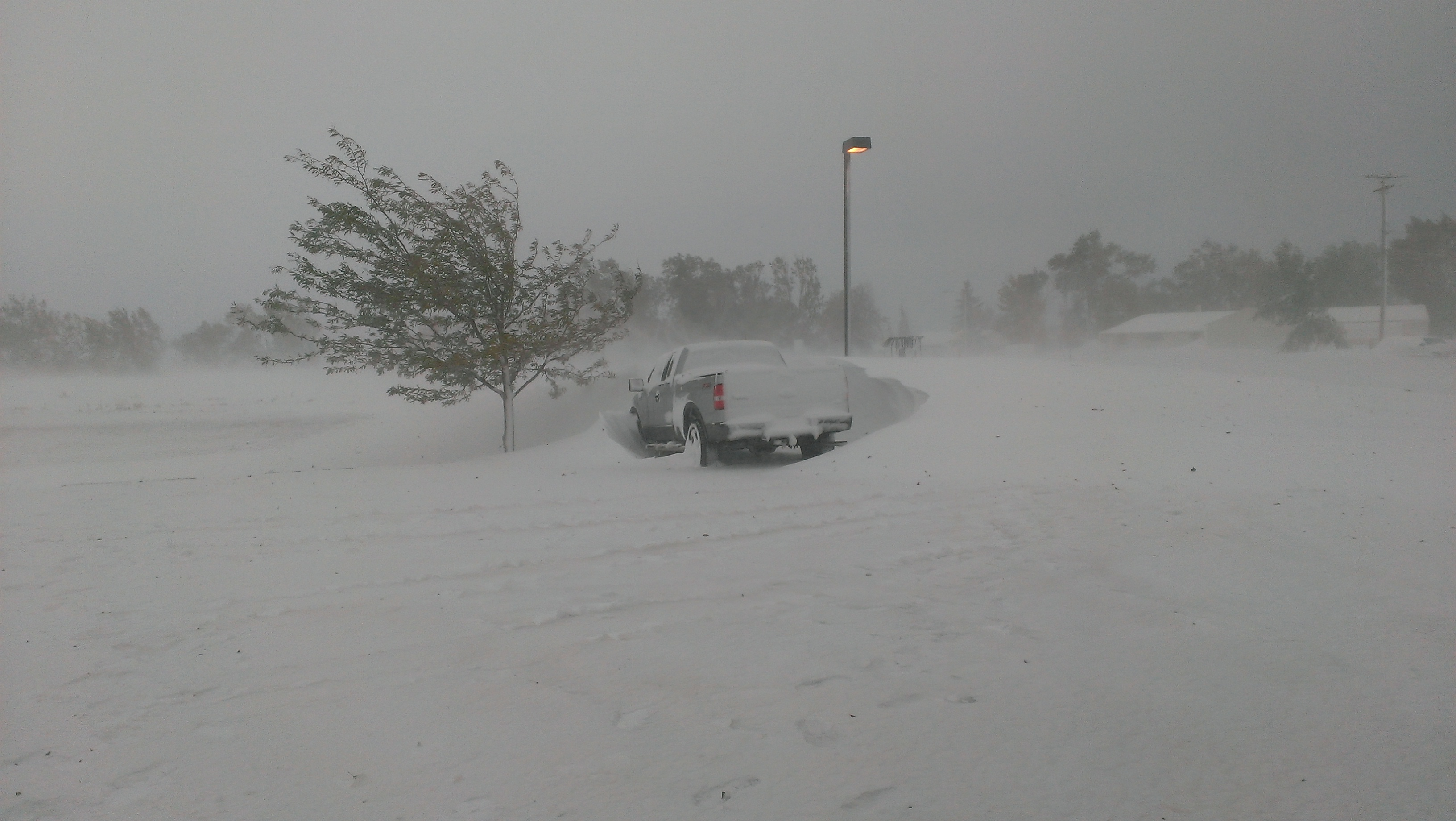 A truck in our office parking lot during the blizzard.