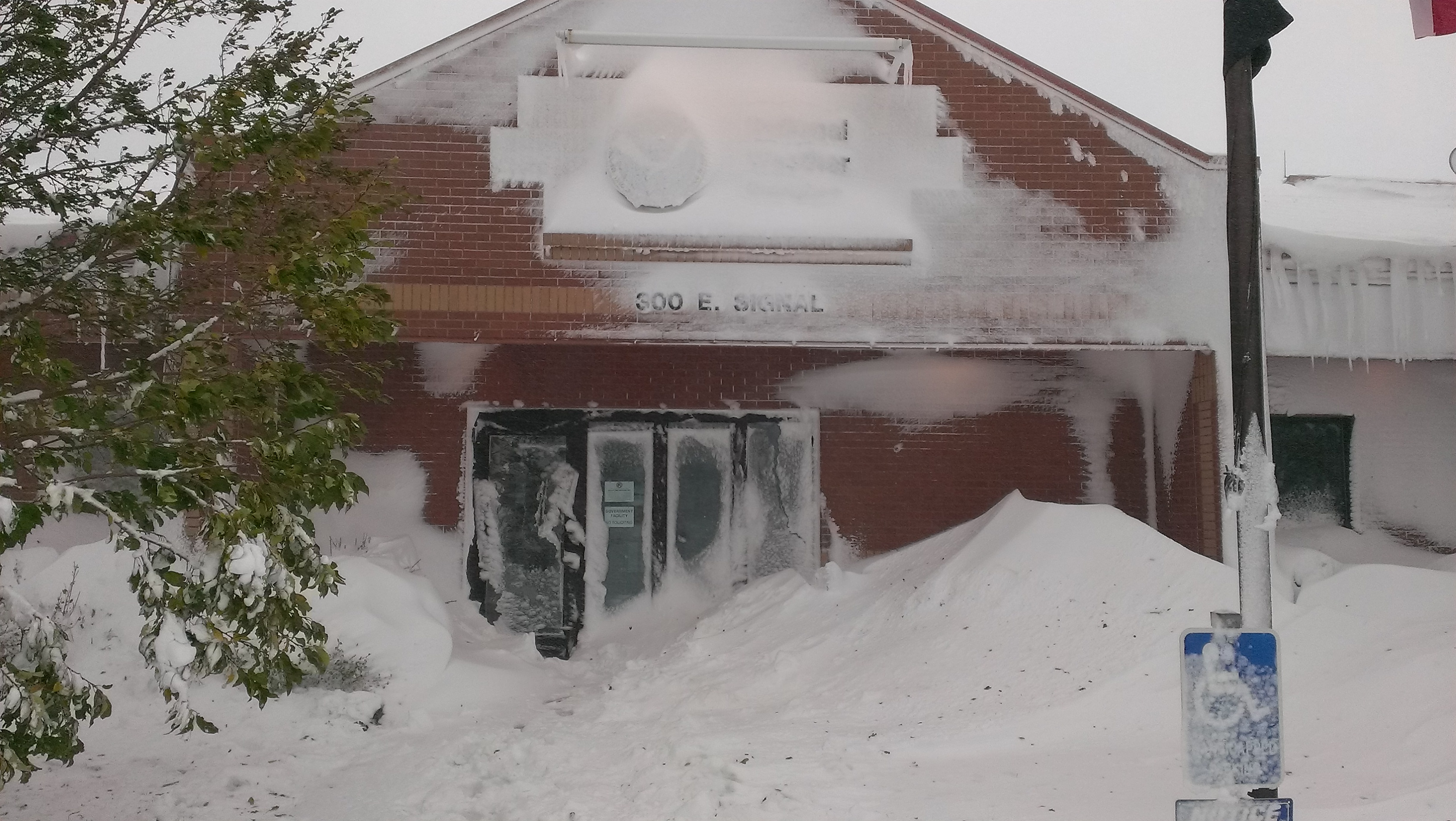 October 3, 2013 image of the NWS Rapid City Office during the historic blizzard