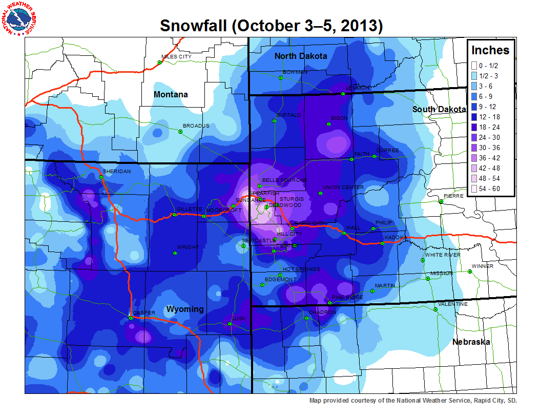 Map of snowfall from October 3-5, 2013 over northeastern Wyoming and western South Dakota