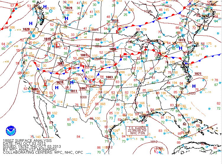 October 3, 2013 18z Surface Map