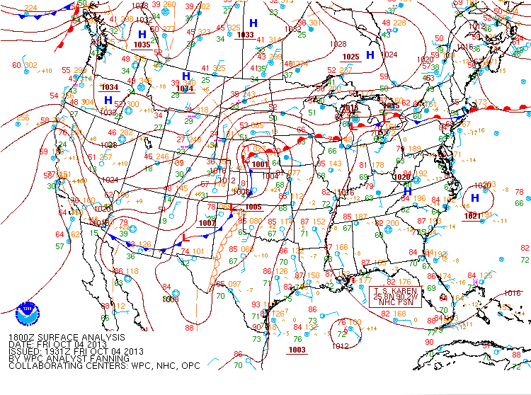 October 4, 2013 18z Surface Map