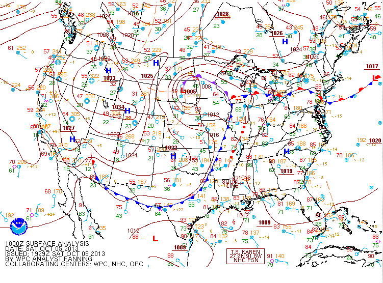 October 5, 2013 18z Surface Map
