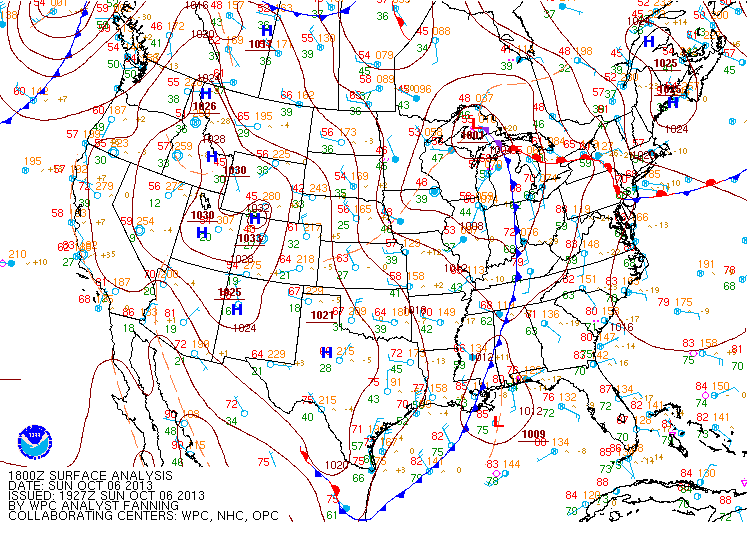 October 6, 2013 18z Surface Map