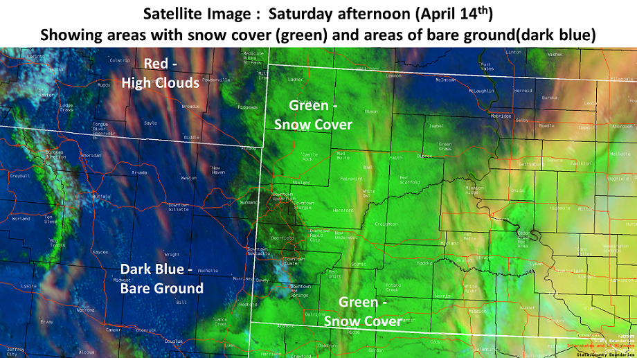 GOES 16 Red-Green-Blue image with snow cover in Green and bare ground in Blue.