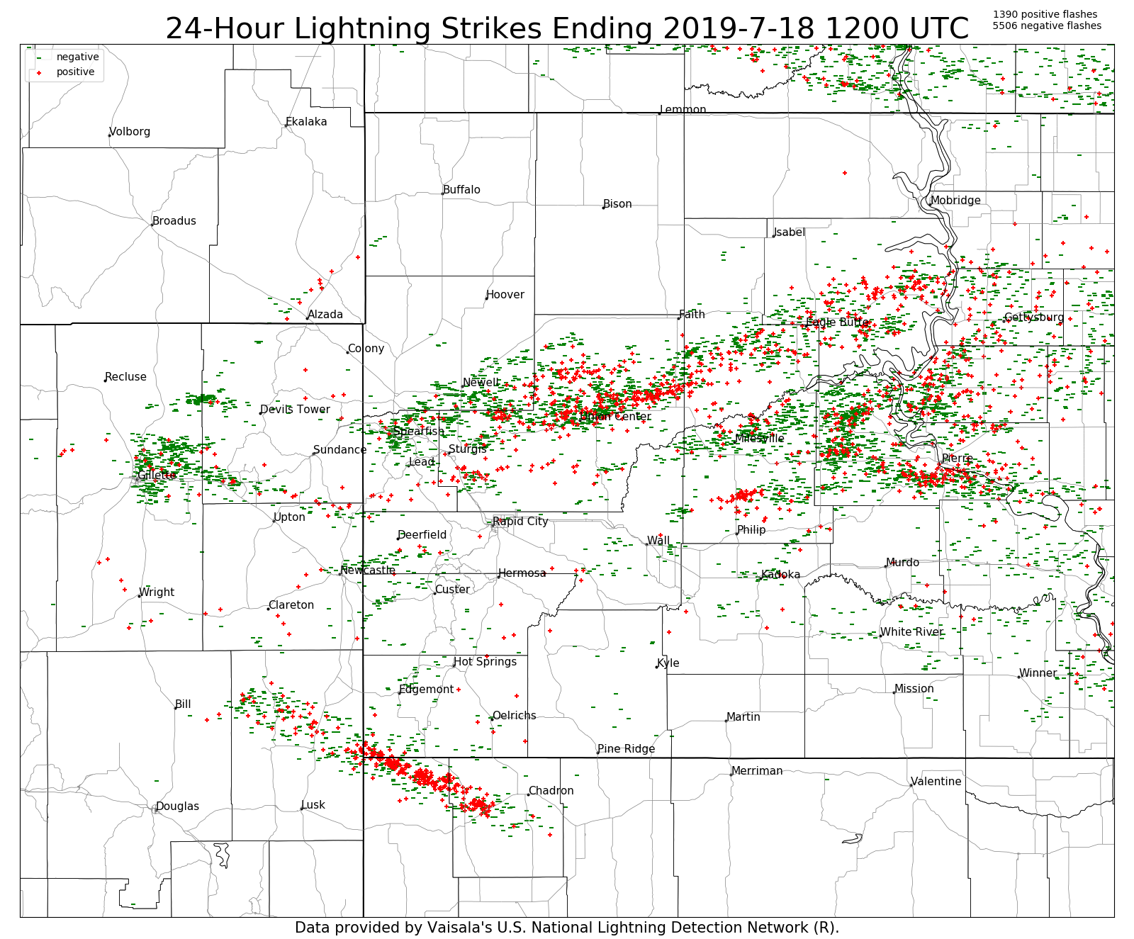 24-h CG lightning ending 6 am July 18th, 2019