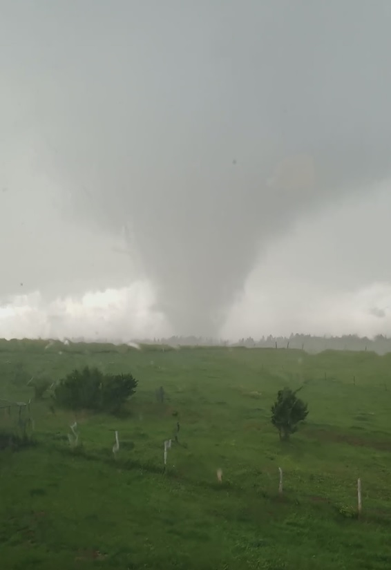 Screen capture from video of tornado west of Four Corners, Wyoming