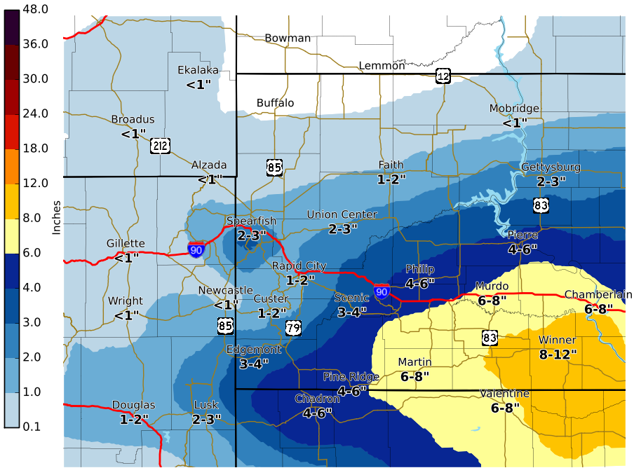 south dakota weather map Snowstorm Continues Tonight Heaviest Snow Over South Central south dakota weather map