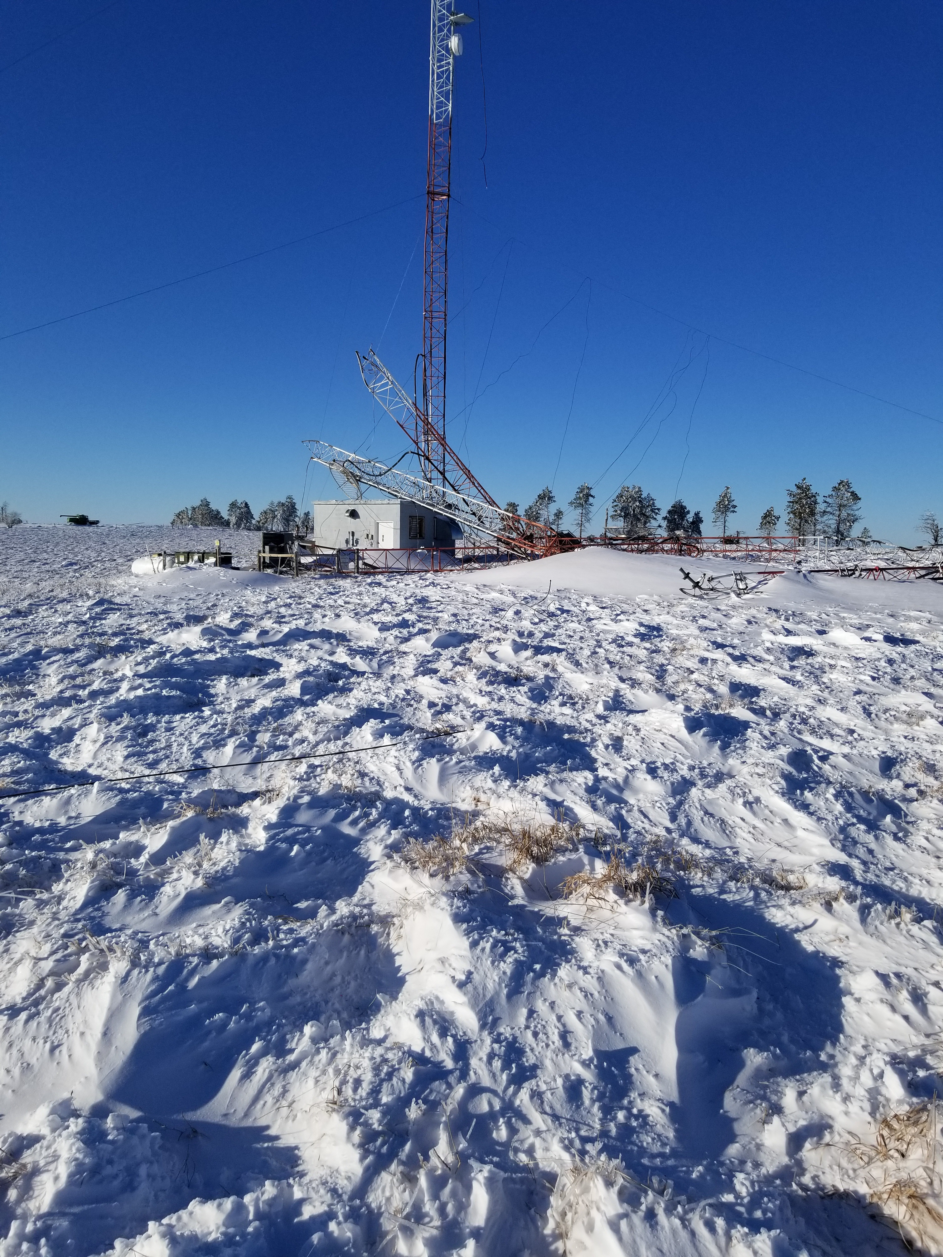 Collapsed radio tower