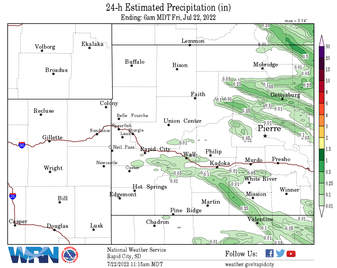 Observed Daily Precipitation Ending at 600 AM