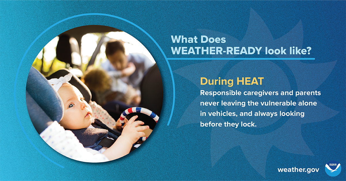 What does Weather-Ready look like? During heat: Responsible caregivers and parents never leaving the vulnerable alone in vehicles, and always looking before they lock.