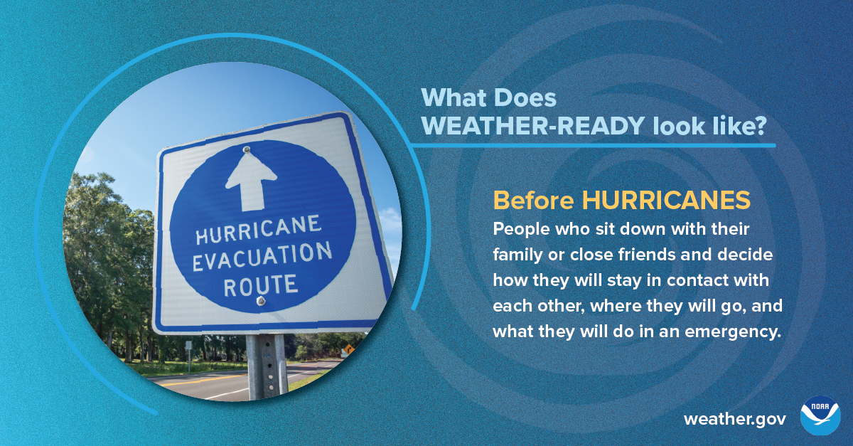 What does Weather-Ready look like? Before hurricanes: People who sit down with their family or close friends and decide how they will stay in contact with each other, where they will go, and what they will do in an emergency.
