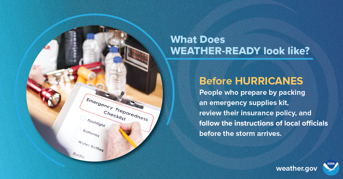 What does Weather-Ready look like? Before hurricanes: People who prepared by packing an emergency supplies kit, review their insurance policy, and follow the instructions of local officials before the storm arrives.