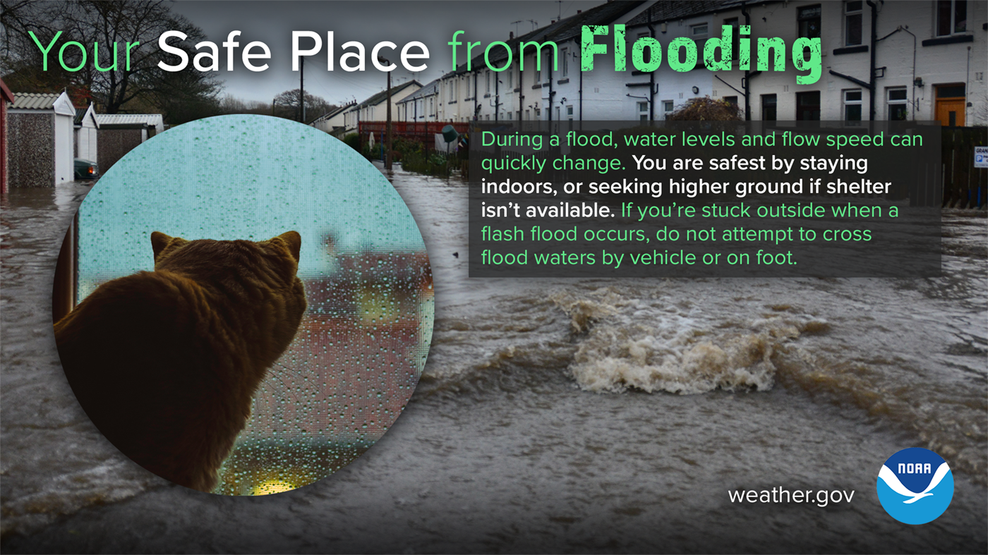 Safe place from flooding - seek higher ground, stay out of flood waters