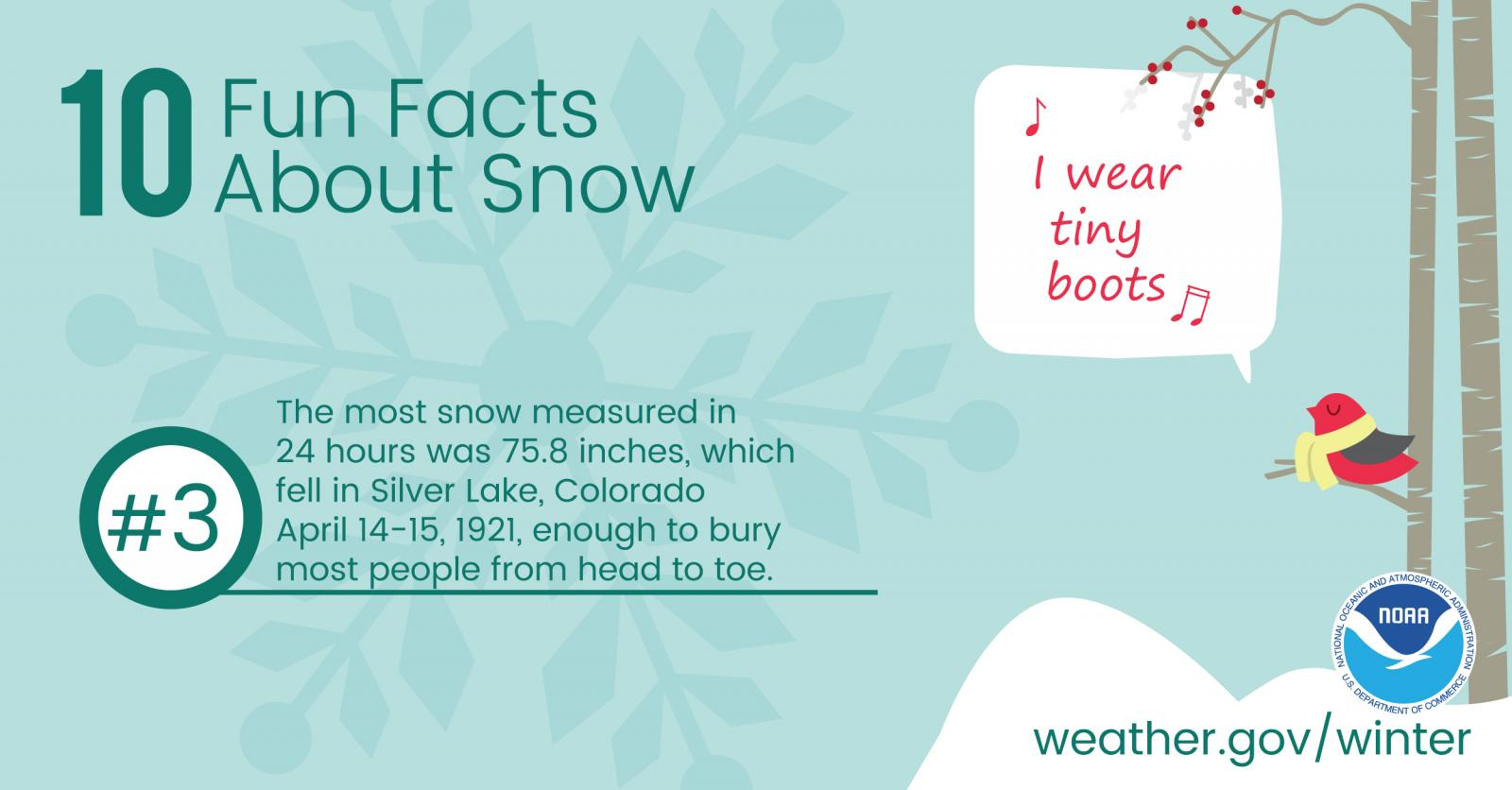 10 Fun Facts About Snow: #3. The most snow measured in 27 hours was 75.8 inches, which fell in Silver Lake, Colorado, April 14-15, 1921, enough to bury most people from head to toe.