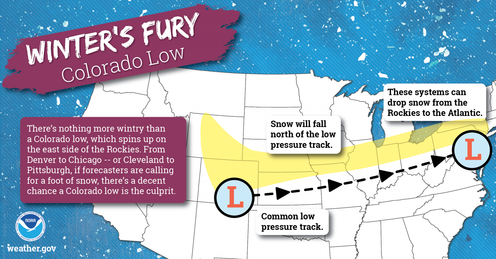 Winter's Fury - Colorado Low: There's nothing more wintry than a Colorado low, which spins up on the east side of the Rockies. From Denver to Chicago -- or Cleveland to Pittsburg, if forecasters are calling for a foot of snow, there's a decent chance a Colorado low is the culprit.
