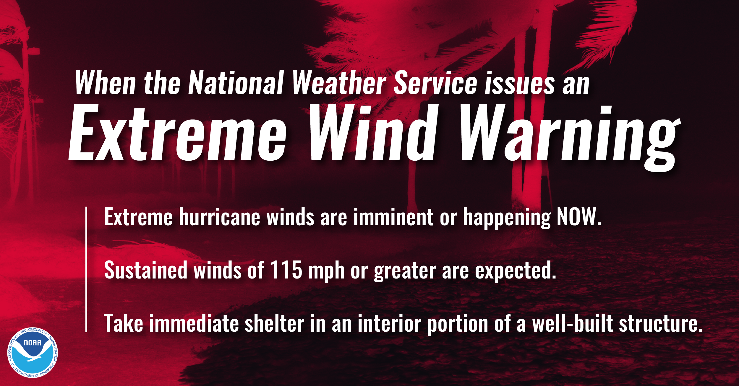 When the National Weather Service issues an Extreme Wind Warning, it means: 1) Extreme hurricane winds are imminent or happening NOW. 2) Sustained winds of 115 mph or greater are expected. 3) Take immediate shelter in an interior portion of a well-built structure.