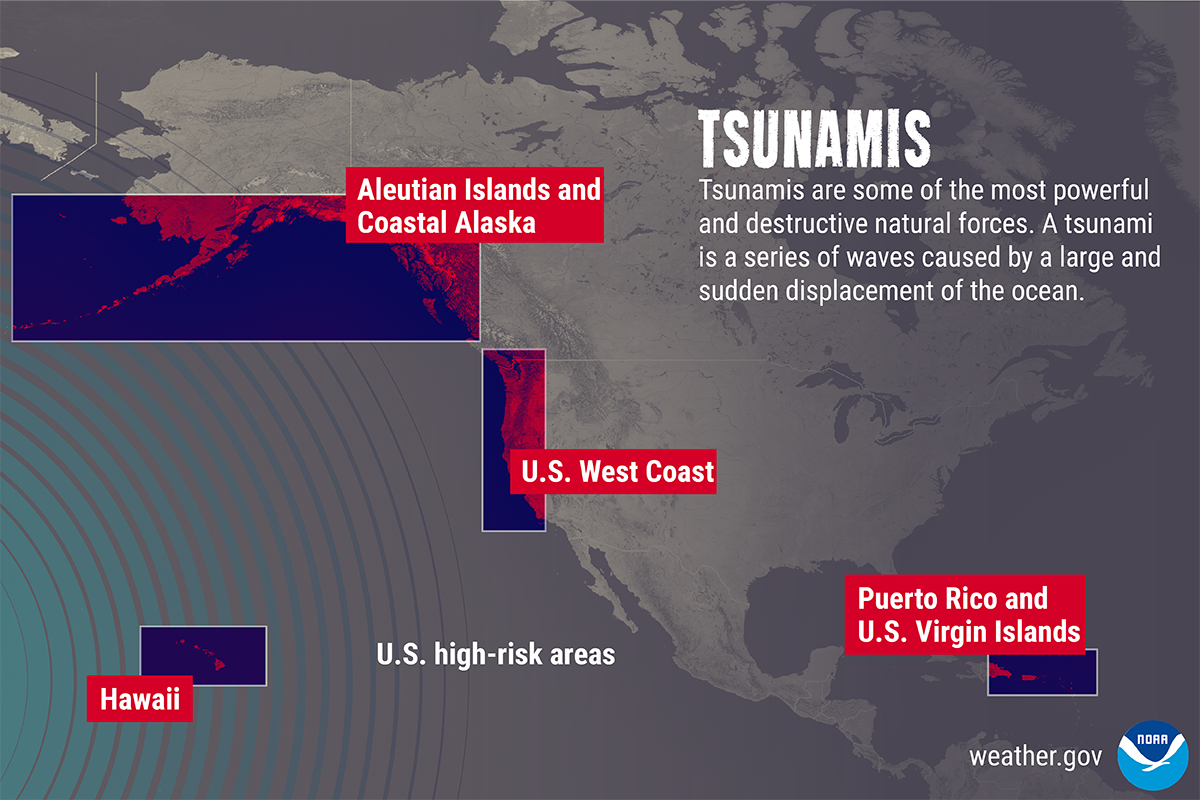 Tsunamis are one of the m ost powerful and destructive natural forces. It is a series of waves caused by a large and sudden displacement of the ocean. A tsunami can strike any ocean coast at any time. U.S. high-risk areas include the West Coast, Hawaii, Coastal Alaska and the Aleutian Islands, and Puerto Rico and the U.S. Virgin Islands.