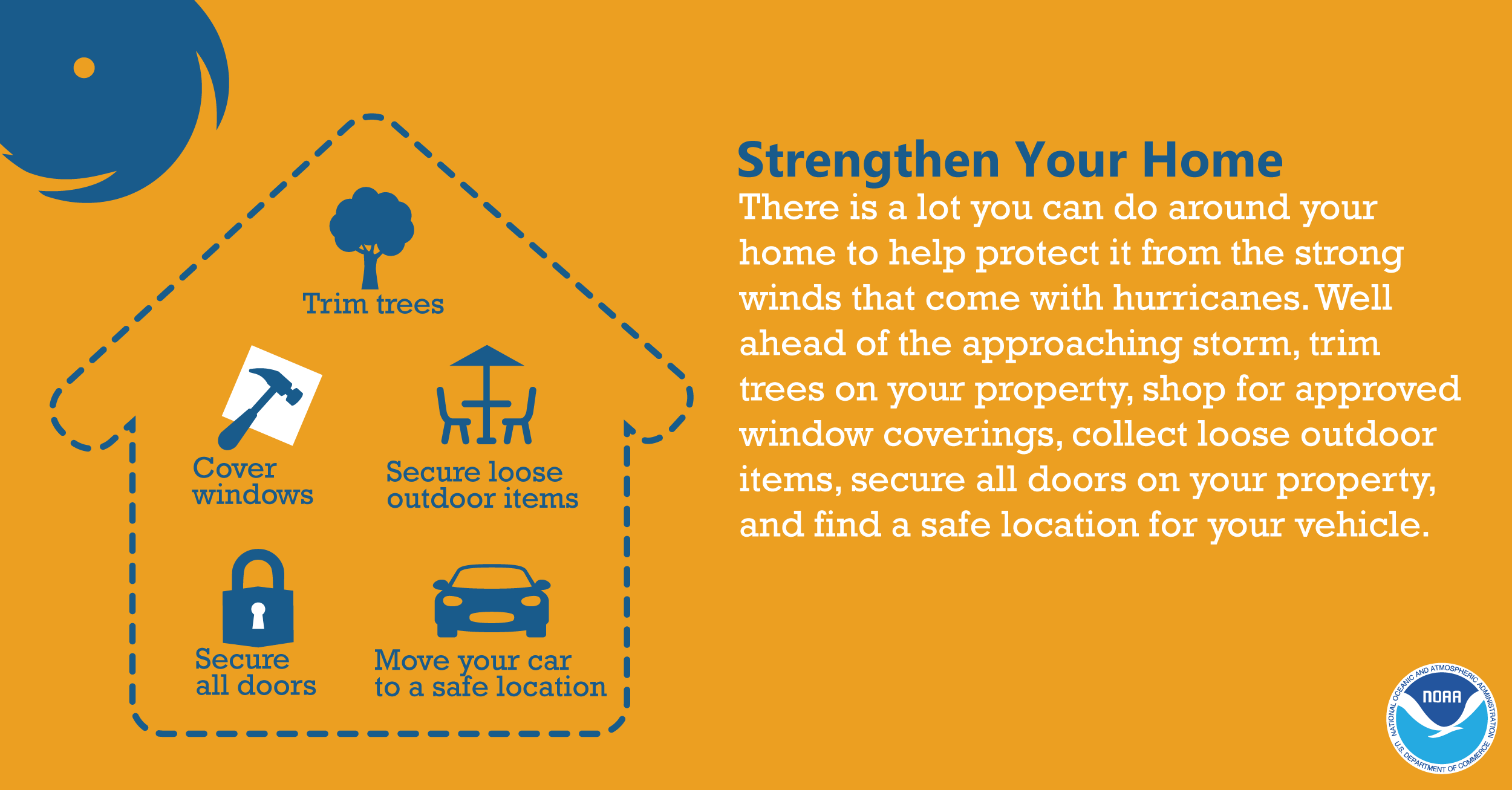 Strengthen Your Home: There is a lot you can do around your home to help protect it from the strong winds that come with hurricanes. Well ahead of the approaching storm, trim trees on your property, shop for approved window coverings, collect loose outdoor items, secure all doors on your property, and find a safe location for your vehicle.