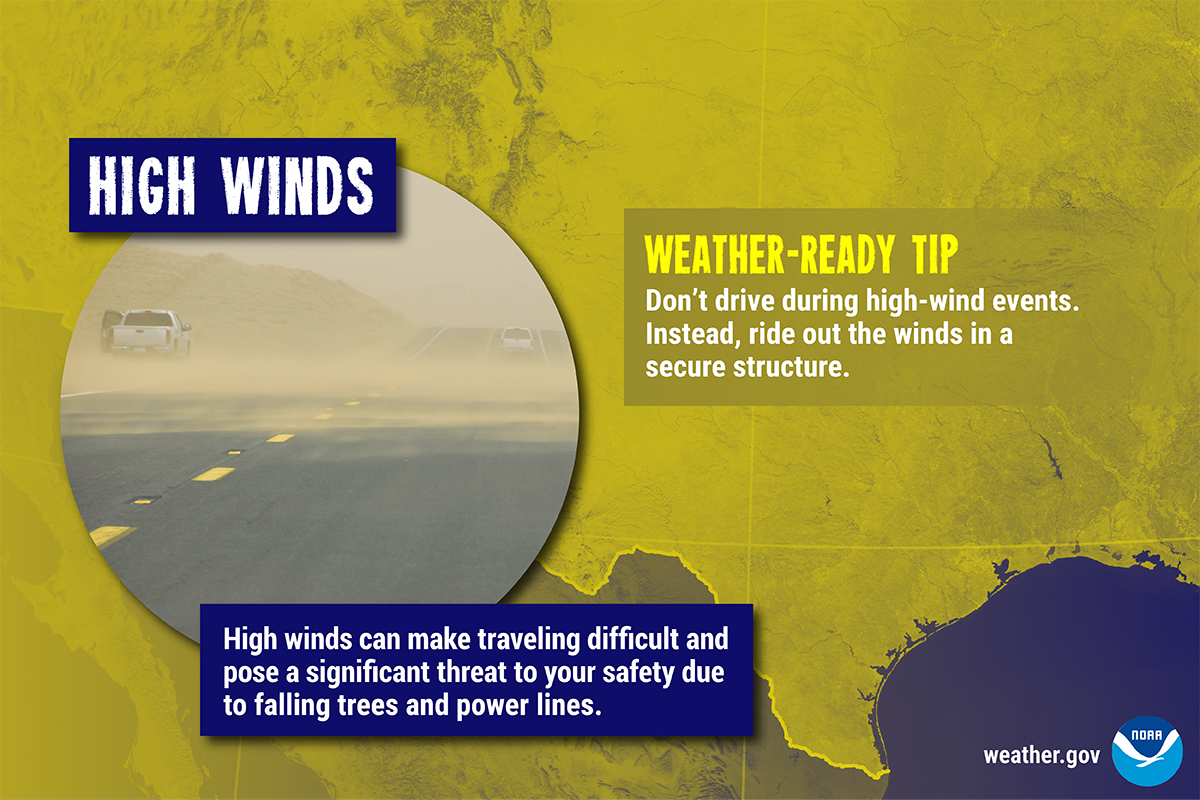High Winds: High winds can make traveling difficult and pose a significant threat to your safety due to falling trees and power lines. Weather-Ready Tip: Don't drive during high-wind events. Instead, ride out the winds in a secure structure.