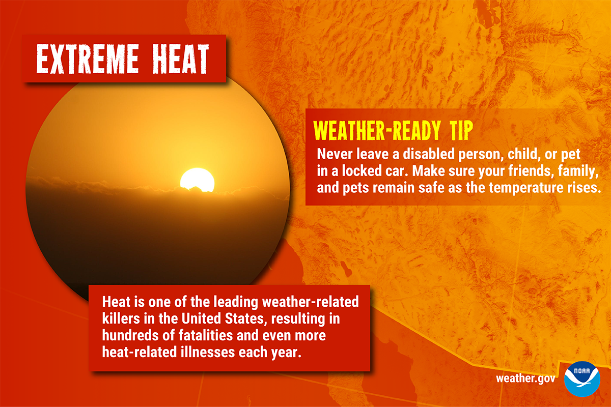 Extreme Heat: Heat is one of the leading weather-related killers in the United States, resulting in hundreds of fatalities and even more heat-related illnesses each year. Weather-Ready Tip: Never leave a disabled person, child, or pet in a locked car. Make sure your friends, family, and pets remain safe as the temperature rises.