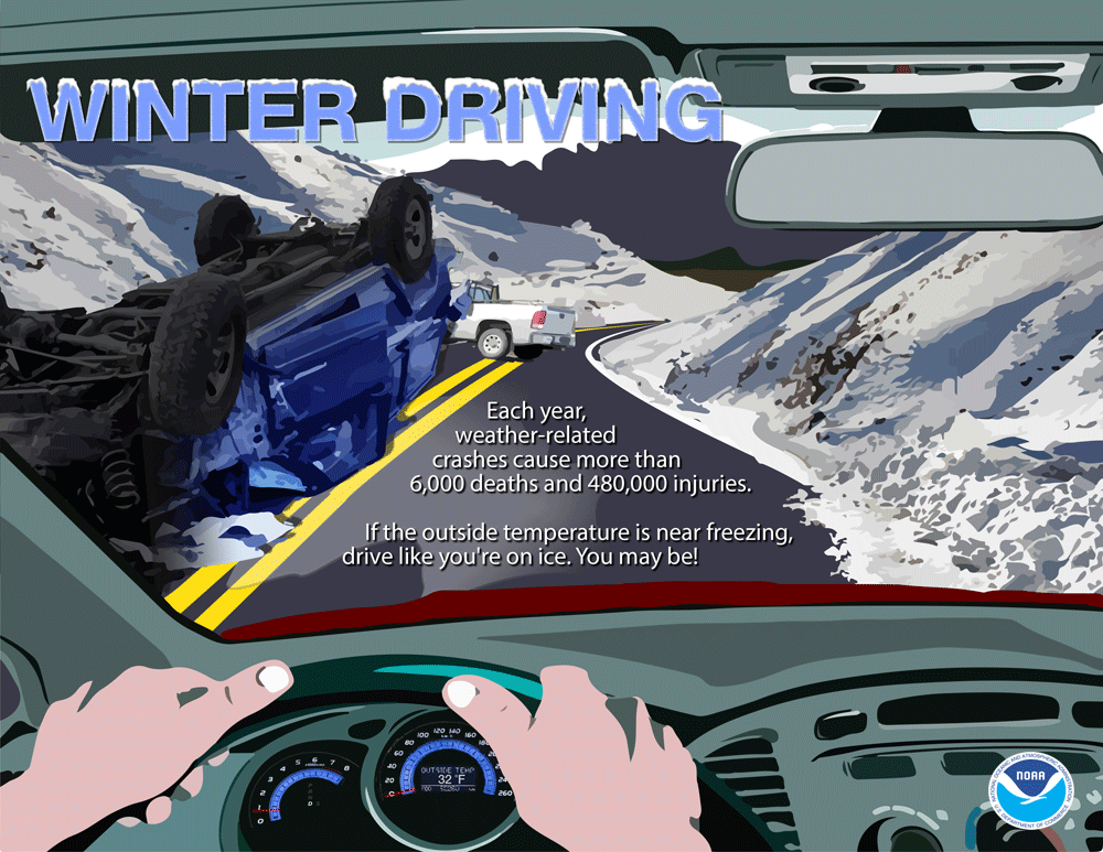 Winter Driving: Each year, weather-related crashes cause more than 6,000 deaths and 480,000 injuries. If the outside temperature is near freezing, drive like you're on ice. You may be!