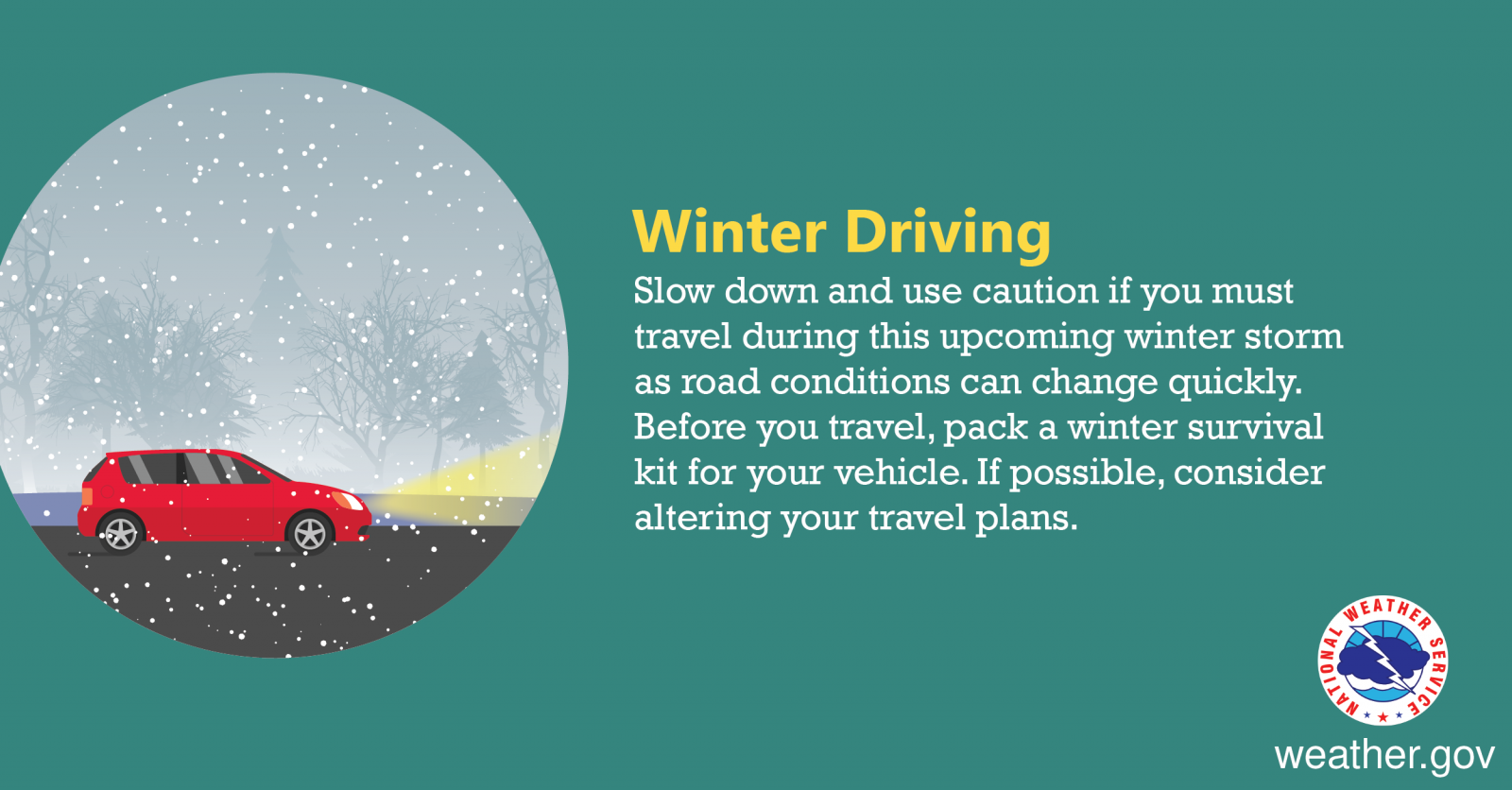 Winter Driving - Slow down and use caution if you must travel during this upcoming winter storm as road conditions can change quickly. Before you travel, pack a winter survival kit for your vehicle. If possible, consider altering your travel plans.