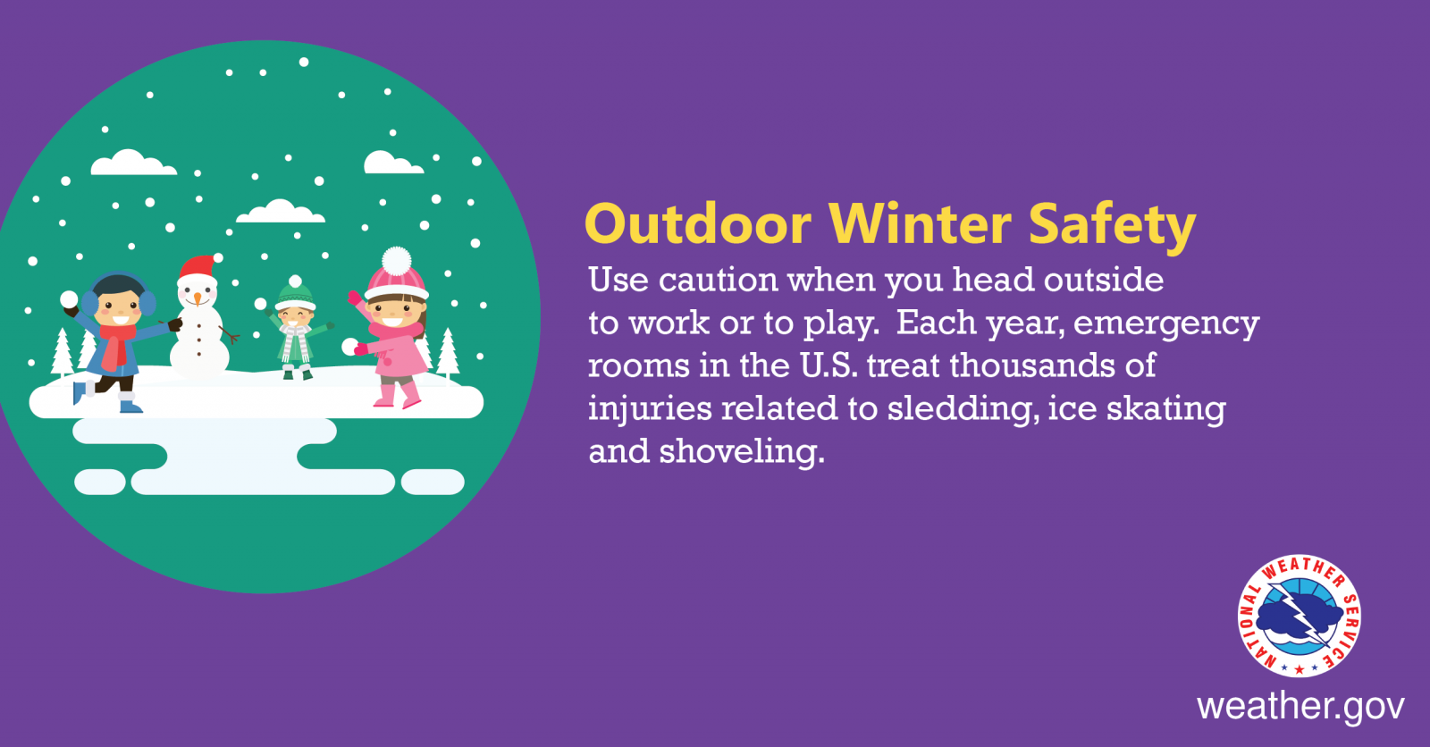 Outdoor Winter Safety - Use caution when you head outside to work or to play. Each year, emergency rooms in the U.S. treat thousands of injuries related to sledding, ice skating and shoveling.