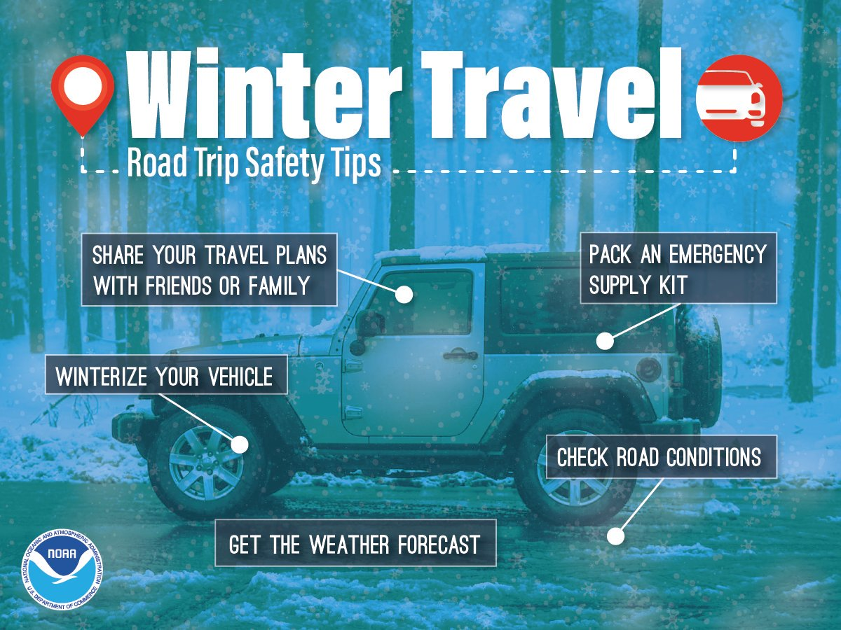 Winter Travel - Road Trip Safety Tips. 1) Share your travel plans with friends or family. 2) Pack an emergency supply kit. 3) Winterize your vehicle. 4) Check road conditions. 5) Get the weather forecast.