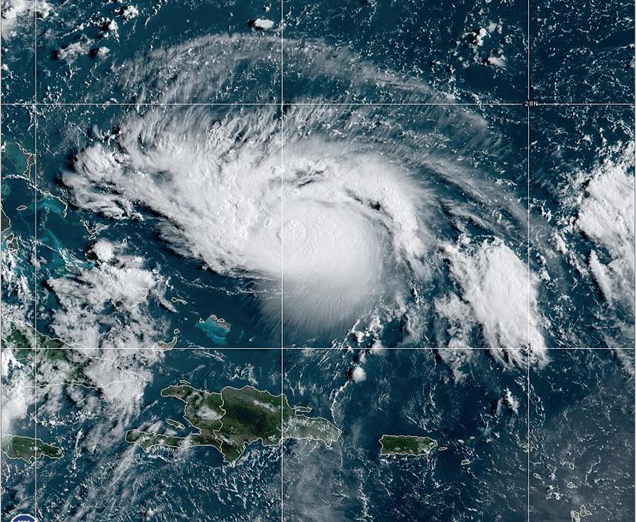 GOES-East satellite image of Hurricane Dorian on August 30, 2019