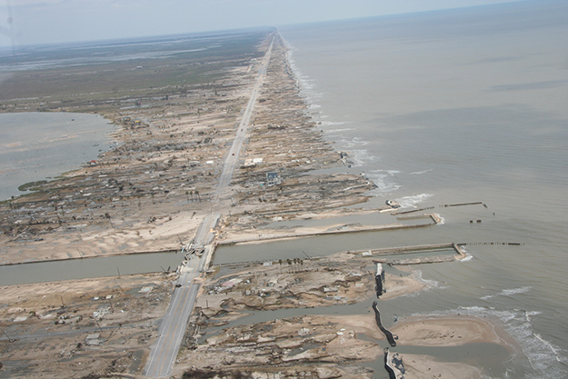 a photo of a coastline damaged by storm surge