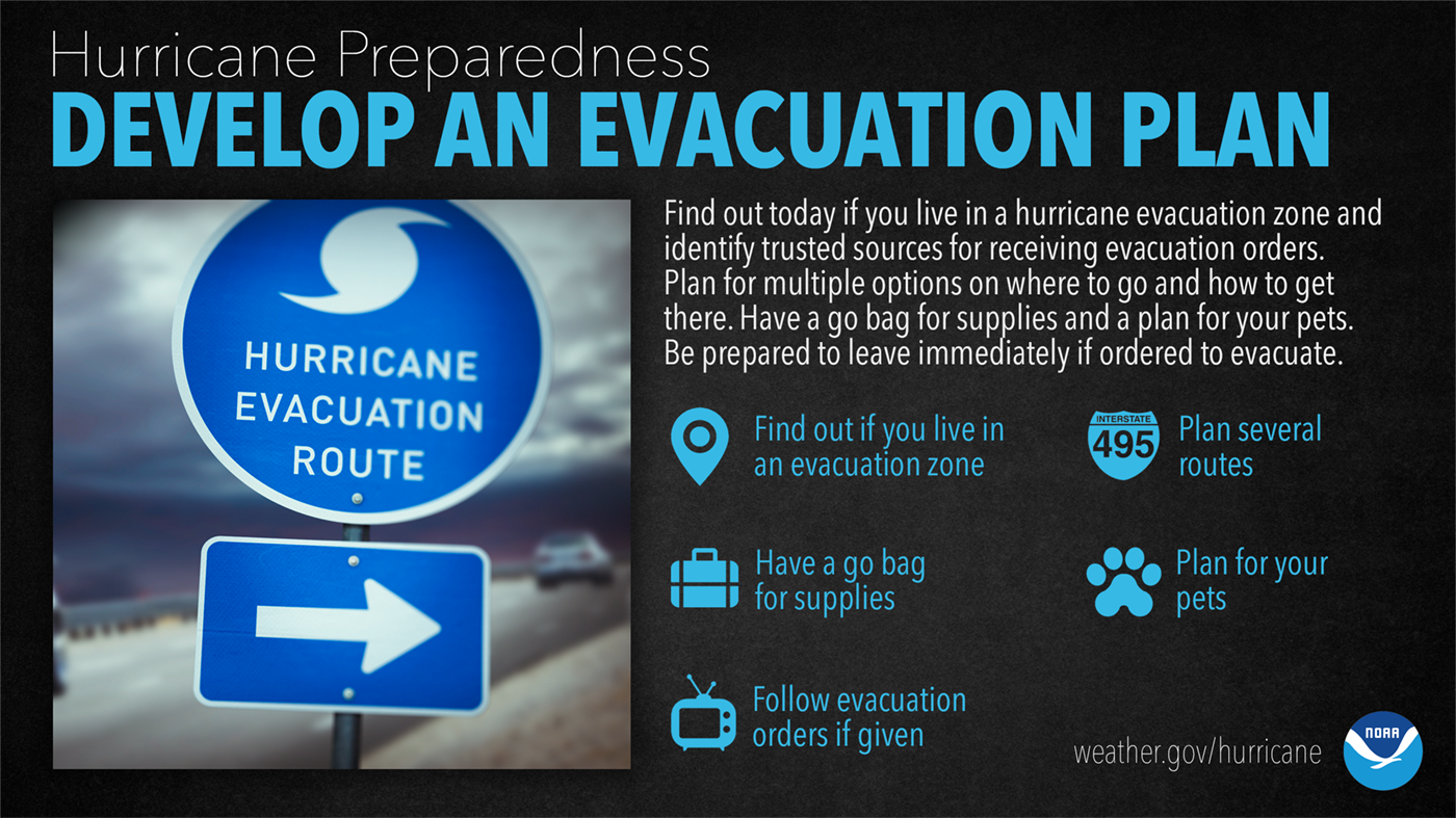 Hurricane Preparedness: Develop An Evacuation Plan. Find out today if you live in a hurricane evacuation zone and identify trusted sources for receiving evacuation orders. Plan for multiple options on where to go and how to get there. Have a go bag for supplies and a plan for your pets. Be prepared to leave immediately if ordered to evacuate.