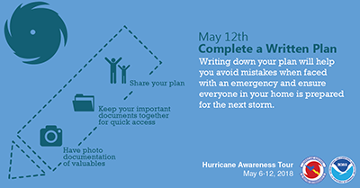 Complete your written hurricane plan May 12
