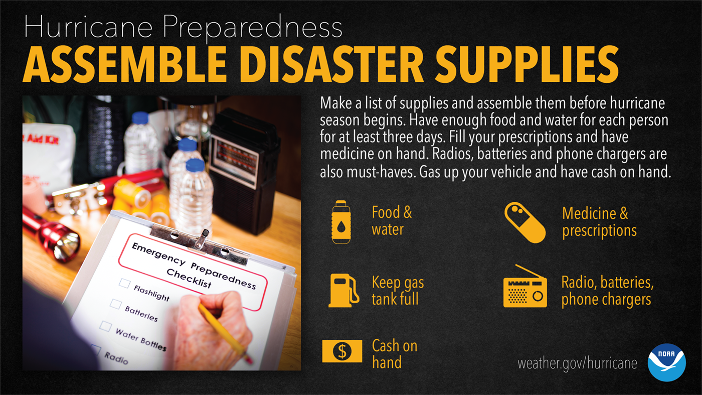 Hurricane Preparedness: Assemble Disaster Supplies. Make a list of supplies and assemble them before hurricane season begins. Have enough food and water for each person for at least three days. Fill your prescriptions and have medicine on hand. Radios, batteries and phone chargers are also must-haves. Gas up your vehicle and have cash on hand.