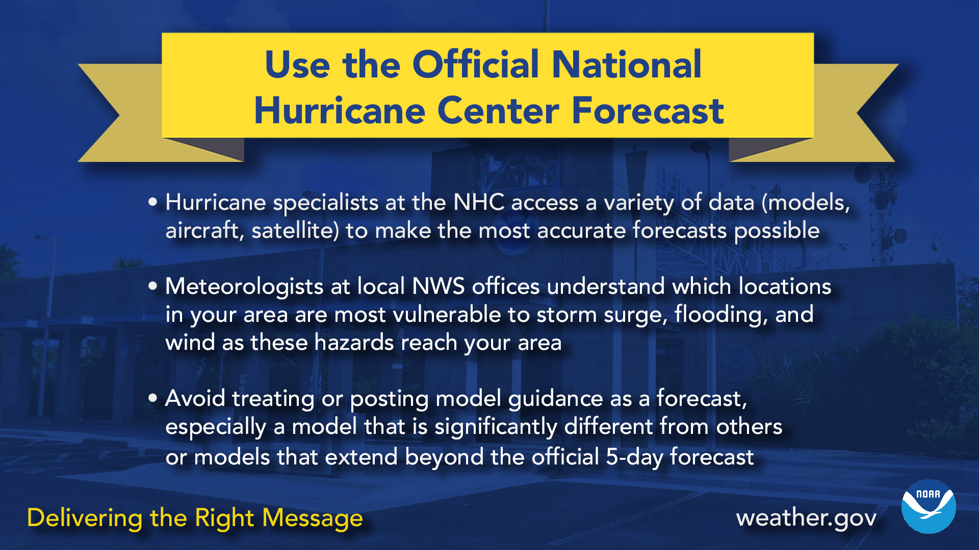 Use the official National Hurricane Center forecast
