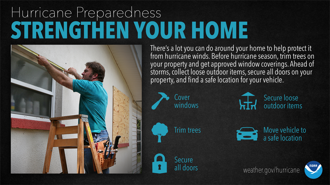 Hurricane Preparedness: Strengthen Your Home. There's a lot you can do around your home to help protect it from hurricane winds. Before hurricane season, trim trees on your property and get approved window coverings. Ahead of storms, collect loose outdoor items, secure all doors on your property, and a find a safe location for your vehicle.