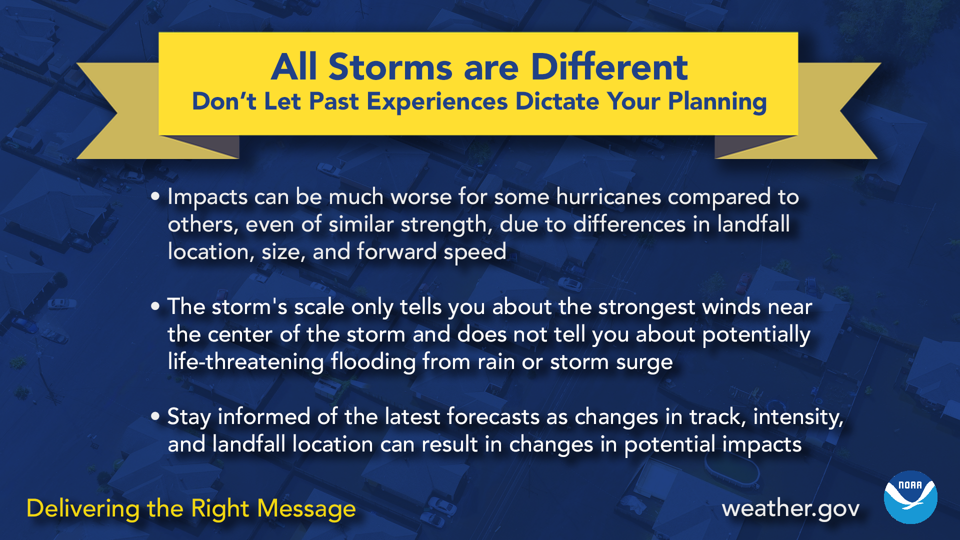 All storms are different - don't let past experiences dictate your planning. Impacts can be much worse for some hurricanes compared to others, even of similar strength, due to differences in landfall location, size, and forward speed. The storm's scale only tells you about the strongest winds near the center of the storm and does not tell you about potentially life-threatening flooding from rain or storm surge. Stay informed of the latest as changes in track, intensity, and landfall location can result in changes in potential impacts.
