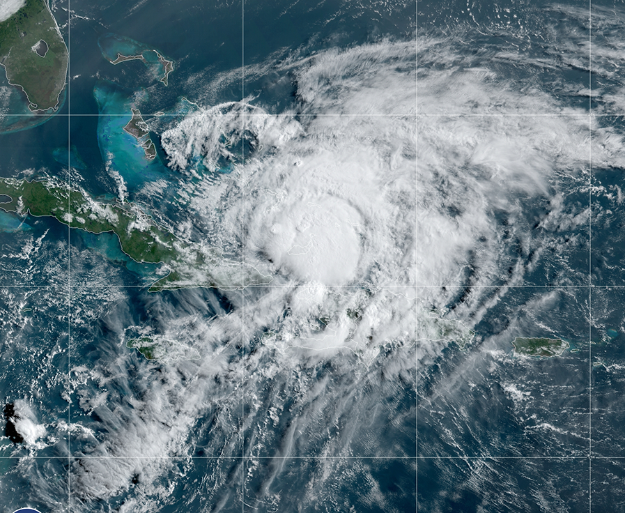 GOES-East satellite image of Hurricane Isaias on July 31, 2020