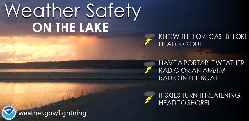 Weather safety on the lake: Know the forecast before heading out. Have a portable weather radio or an AM/FM radio in the boat. If skies turn threatening, head to shore.