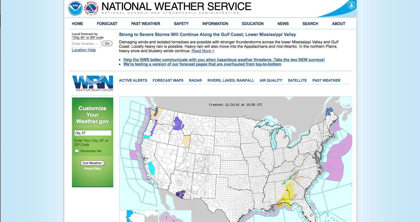 Pictured: the weather.gov homepage
