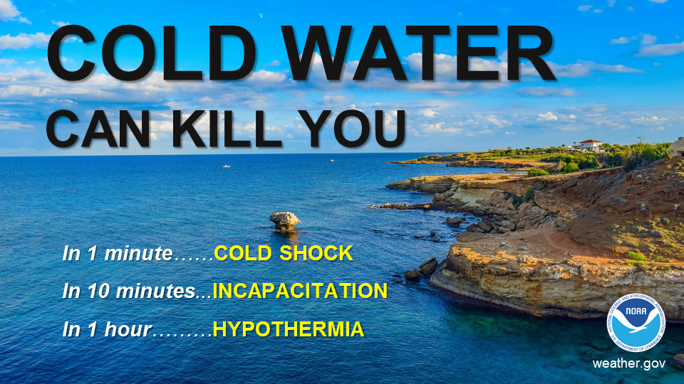 Cold water can kill you. In 1 minute...COLD SHOCK. In 10 minutes...INCAPACITATION.  In 1 hour...HYPOTHERMIA.