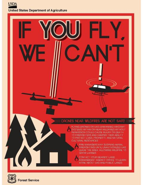 If you fly, we can't. Drones near wildfires are not safe!