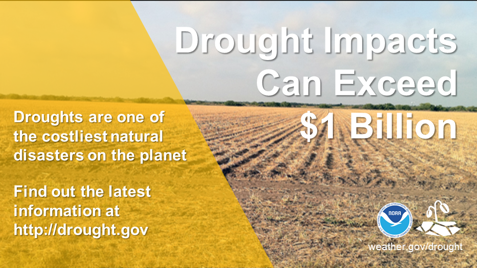 Drought Impacts Can Exceed $1 Billion.  Droughts are one of the costliest natural disasters on the planet.  Find out the latest information at http://drought.gov