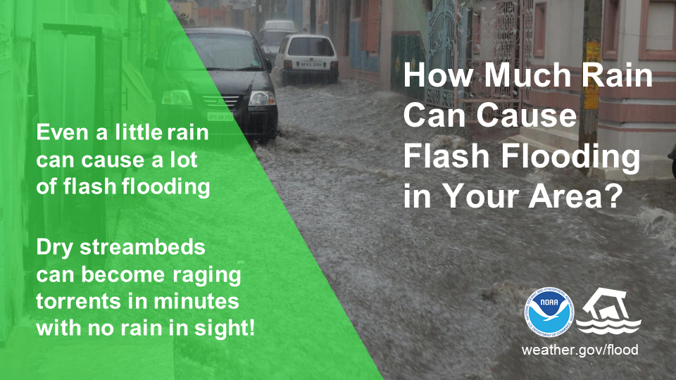 How Much Rain Can Cause Flash Flooding in Your Area?  Even a little rain can cause a lot of flash flooding.  Dry stream beds can become raging torrents in minutes with no rain in sight!